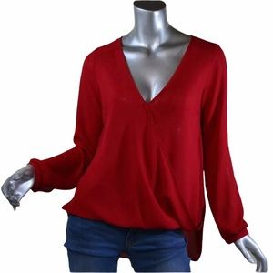 Lush Red High Low Top V Neck Wrap Blouse